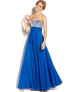 Blondie Nites Juniors Strapless Rhinestone Gown   Juniors Dresses