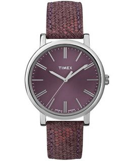 Timex Watch, Womens Premium Originals Classic Burgundy Woven Leather Strap 38mm T2P172AB   Watches   Jewelry & Watches