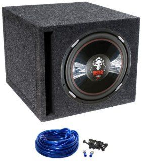 "Package Boss P156DVC ""15"" 2500 Watt Dual 4 Ohm Voice Coils Phantom Series Car Subwoofer + Atrend E15SV Single 15"" Vented Subwoofer Enclosure + Single Enclosure Wire Kit With 14 Gauge Speaker Wire + Screws + Spade Terminals  Vehicle Subwoof"