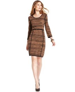 Spense Petite Dress, Long Sleeves Ribbed Sweater Dress   Dresses   Women