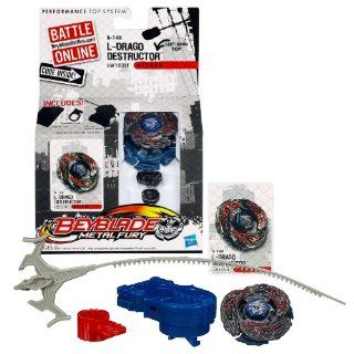 Hasbro Year 2012 Beyblade Metal Fury Performance Battle Tops   Left Spin Top Attack LW105LF B 148 L DRAGO DESTRUCTOR with Face Bolt, Destructor Energy Ring, L Drago III Fusion Wheel, LW105 Spin Track, LF Performance Tip and Ripcord Launcher Plus Online Cod