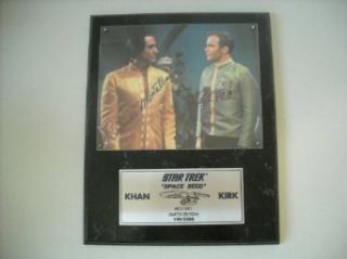 Star Trek William Shatner and Ricardo Montalban Captain Kirk and Khan Space Seed Signed Autographed Limited Edition Plaque #149 of 2,500 Entertainment Collectibles