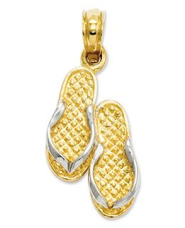 14k Gold and Sterling Silver Charm, Flip Flops Charm   Jewelry & Watches