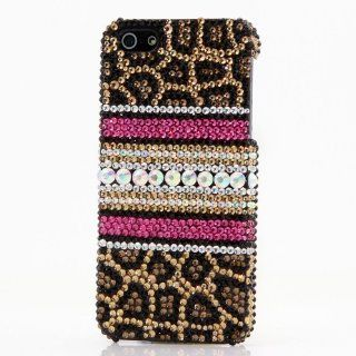 Genesong Luxury Crystal Bling Diamond Sparkle 3d Leopard Design Case Cover for Iphone 5 5s Cell Phones & Accessories
