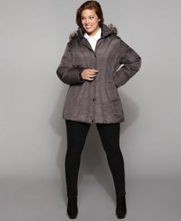 London Fog Plus Size Coat, Contour Seamed Hooded Faux Fur Trim Down Puffer   Coats   Women