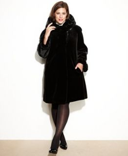 Jones New York Plus Size Coat, Hooded Faux Fur Swing   Coats   Women