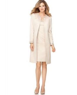 Tahari by ASL Suit, Sleeveless Beaded Sheath Dress & Long Beaded Jacket   Suits & Suit Separates   Women