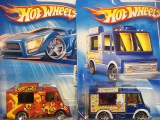 Hot Wheels Ice Cream Truck Variant Set Tropicool Series 5 Spoke Red #142 & The City Works 10 Spoke Blue #113 {2 Pieces} Scale 1/64 Collector Toys & Games