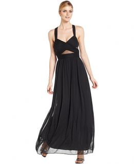 Betsy & Adam Sleeveless Illusion Cutout Gown   Dresses   Women