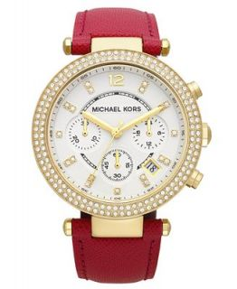Michael Kors Womens Chronograph Parker Pink Leather Strap Watch 39mm MK2297   Watches   Jewelry & Watches