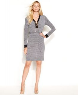 MICHAEL Michael Kors Long Sleeve Printed Lace Up Belted Dress   Dresses   Women