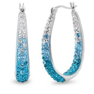 Sterling Silver Blue Ombre Crystal Hoop Earrings with Swarovski Elements Jewelry
