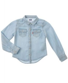 GUESS Kids Shirt, Little Girls Denim Ruffle Shirt   Kids