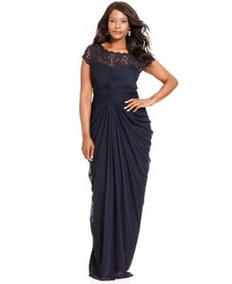 Adrianna Papell Plus Size Dress, Short Sleeve Illusion Lace Pleat Gown   Dresses   Plus Sizes