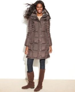 London Fog Hooded Faux Fur Trim Quilted Puffer Coat   Coats   Women