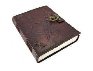 Embossed Leather Crescent Moon Fairy 136 Leaf Diary Journal with Lock   Childrens Diaries