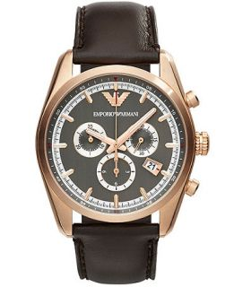 Emporio Armani Unisex Chronograph Brown Leather Strap Watch 43mm AR6005   Watches   Jewelry & Watches