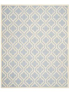 Safavieh Cambridge Collection CAM132A Handmade Wool Area Rug, 8 by 10 Feet, Light Blue and Ivory