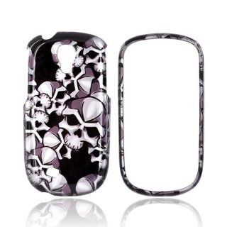 [Luxmo] Silver Skulls on Black Samsung Gravity Smart Plastic Case Cover [Anti Slip] Supports Premium High Definition Anti Scratch Screen Protector; Durable Fashion Snap on Hard Case; Coolest Ultra Slim Case Cover for Gravity Smart Supports Samsung Smart De