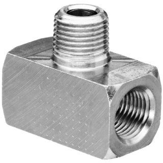 "Polyconn PC132NB 2 Nickel Plated Brass Pipe Fitting, Branch Tee, 1/8"" NPT Male x 1/8"" NPT Female (Pack of 10) Industrial Pipe Fittings"