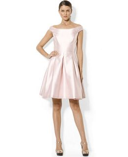 Lauren Ralph Lauren Cap Sleeve Boat Neck Satin Flare Dress   Dresses   Women