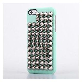 Green Luxury Silver Tapered Punk Studs Skin Bling Hard Cover Case For Iphone 5 5G Cell Phones & Accessories
