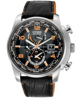 Citizen Mens Eco Drive World Time A T Black Leather Strap Watch 43mm AT9013 03H   Watches   Jewelry & Watches