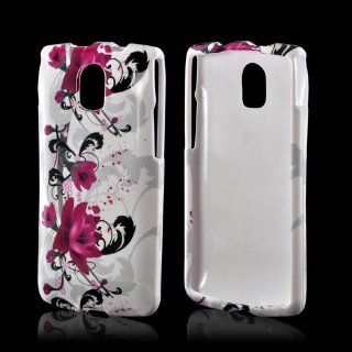 Magenta Flowers with Black Vines on White Pantech Discover Plastic Case Cover [Anti Slip] Supports Premium High Definition Anti Scratch Screen Protector; Durable Fashion Snap on Hard Case; Coolest Ultra Slim Case Cover for Discover Supports Pantech Devices
