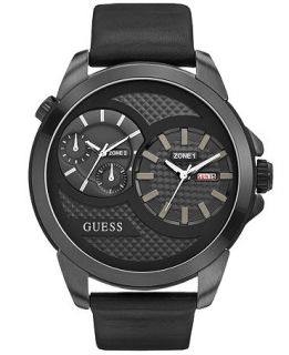 GUESS Watch, Mens Dual Time Black Leather Strap 55mm U0184G1   Watches   Jewelry & Watches