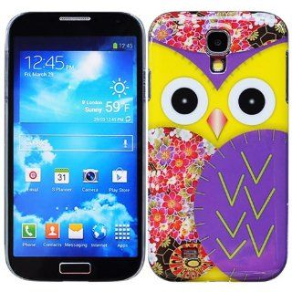 Bfun Purple Cartoon Bird Owl Flower Hard Cover Case for Samsung Galaxy S4 i9500 Cell Phones & Accessories