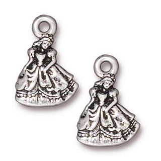 Fine Silver Plated Pewter Cinderella Princess Charm 19mm (1)