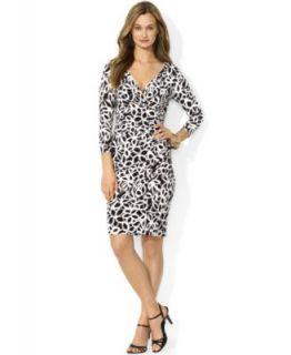 Lauren Ralph Lauren Long Sleeve Printed Faux Wrap Dress   Dresses   Women