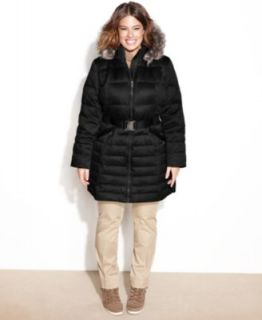 Betsey Johnson Plus Size Faux Fur Trim Hooded Quilted Puffer Coat   Coats   Women
