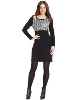 NY Collection Petite Dress, Long Sleeve Patterned Colorblocked Sweaterdress   Dresses   Women