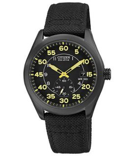 Citizen Mens Eco Drive Black Nylon Strap Watch 43mm BV1085 14E   Watches   Jewelry & Watches
