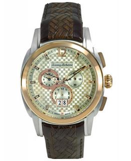 Tommy Bahama Watch, Mens Swiss Chronograph Dark Brown Textured Leather Strap 44mm TB1156   Watches   Jewelry & Watches