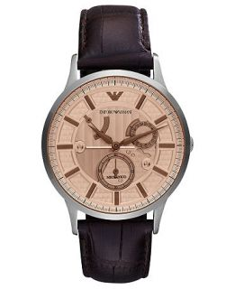 Emporio Armani Watch, Mens Automatic Meccanico Brown Croco Leather Strap 43mm AR4660   Watches   Jewelry & Watches