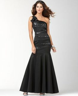 Betsy & Adam Dress, One Shoulder Sequin Evening Gown   Dresses   Women