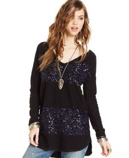 Free People Long Sleeve Sequin Colorblocked Oversized High Low Sweater   Sweaters   Women