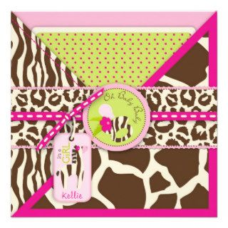 Zebra & Pacifier Safari Animal Print Baby Shower Custom Invites