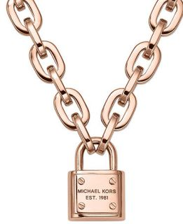 Michael Kors Rose Gold Tone Chain Padlock Pendant Necklace   Fashion Jewelry   Jewelry & Watches
