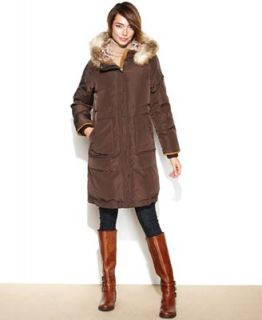 Jones New York Coat, Hooded Faux Fur Trim Quilted Puffer   Coats   Women