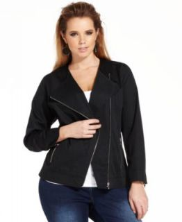 Jones New York Plus Size Faux Leather Moto Jacket & Gramercy Curvy Bootcut Jeans   Plus Sizes
