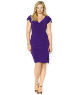 Lauren by Ralph Lauren Plus Size Dress, Cap Sleeve Polka Dot Jersey   Dresses   Plus Sizes