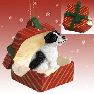 JACK RUSSELL TERRIER Dog BlK/Wht Smooth in a RED GIFT BOX Christmas Ornament New Resin RGBD105B   Collectible Figurines