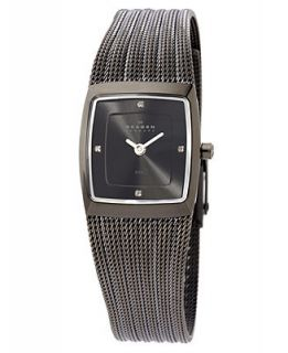 Skagen Denmark Watch, Womens Charcoal Stainless Steel Mesh Bracelet 380XSMMM1   Watches   Jewelry & Watches