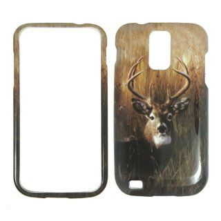 Samsung Galaxy S II T989 HERCULES   T Mobile Deer on Grass   Camo Camouflage   Hunting Shinny Gloss Finish Hard Plastic Cover, Case, Easy Snap On, Faceplate. Cell Phones & Accessories