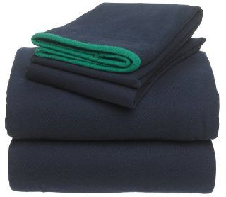 Tommy Hilfiger Jersey Crew Knit Cotton Twin/Twin Extra Long Sheet Set, Navy   Pillowcase And Sheet Sets