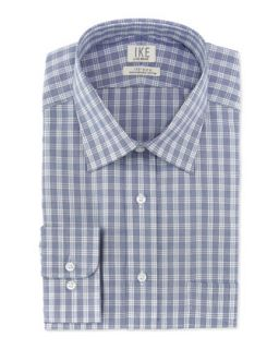 Long Sleeve Check Poplin Dress Shirt, Indigo