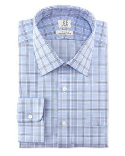 Long Sleeve Check Poplin Dress Shirt, Blue Graphite